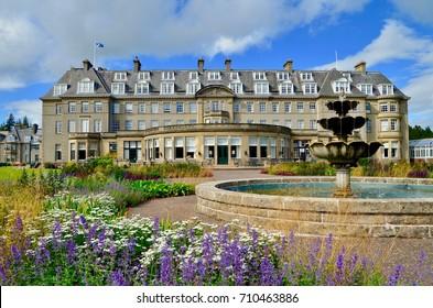 Gleneagles Hotel, luxury spa retreat and international golf course. Auchterarder, Perthshire, Scotland uk. September 2017