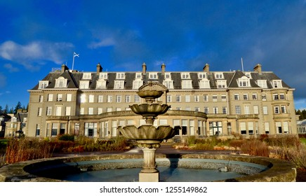Gleneagles luxury 5 star hotel with three championship golf courses and Mitchelin star restaurant in the scottish Highlands of Perthshire. Auchterarder, Scotland UK. December 2018