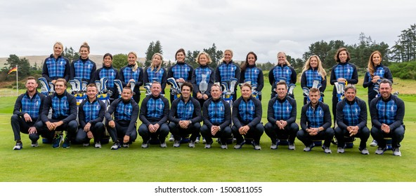 Gleneagles, Scotland 10th September 2019. The USA and European Solheim Cup teams attend the official photo call ahead of the 2019 Solheim Cup