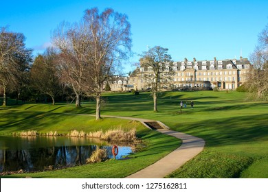 GLENEAGLES, SCOTLAND: 28 December 2018 - Beautiful View of the Luxury Gleneagles Hotel Resort and Golf Course
