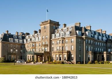 GLENEAGLES, SCOTLAND - APRIL 18, 2014: Main entrance to Gleneagles Hotel in Scotland, venue for the 2014 Ryder Cup golf championship.