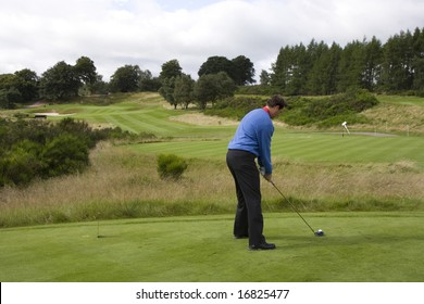 GLENEAGLES SCOTLAND AUGUST 27, England's David Howell lines up a tee shot whilst competing in the Johnnie Walker Classic PGA European Tour golf tournament at Gleneagles Perthshire Scotland