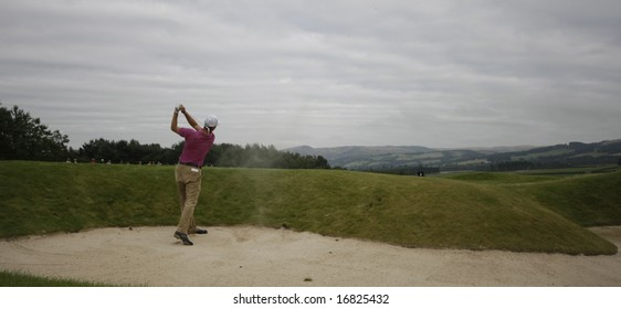 GLENEAGLES SCOTLAND AUGUST 29, Panoramic shot of Martin Kaymer from a bunker whilst competing in the Johnnie Walker Classic PGA European Tour golf tournament at Gleneagles Perthshire Scotland 28-31