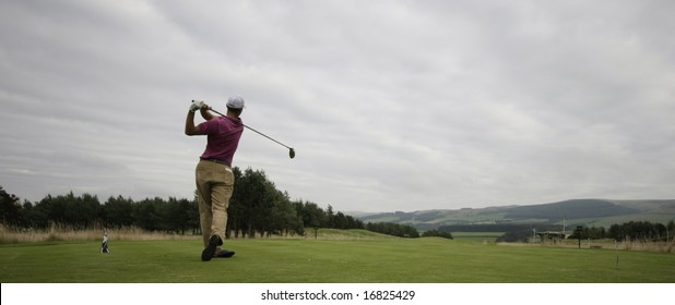 GLENEAGLES SCOTLAND AUGUST 29, Scenic shot of Germany's Martin Kaymer teeing off whilst competing in the Johnnie Walker Classic PGA European Tour golf tournament at Gleneagles Perthshire Scotland