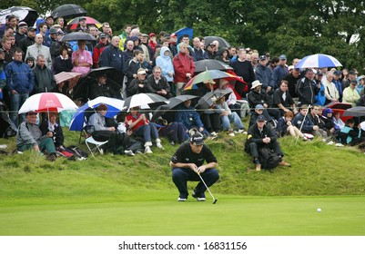 GLENEAGLES SCOTLAND AUGUST 31, David Howell Lines up a birdie putt on the final to give him equal 3rd in the Johnnie Walker Classic PGA European Tour golf tournament at Gleneagles Perthshire Scotland