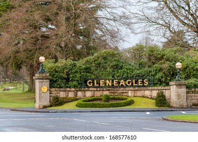 GLENEAGLES, SCOTLAND - DECEMBER 17, 2013:  Entrance to the Gleneagles Hotel in Scotland, venue for the 2014 Ryder Cup golf championship.