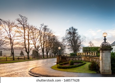 GLENEAGLES, SCOTLAND - DECEMBER 17, 2013:  Sunrise at the entrance to the Gleneagles Hotel in Scotland, venue for the 2014 Ryder Cup golf championship.