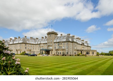 GLENEAGLES, SCOTLAND - MAY 26, 2015:  Main entrance to Gleneagles Hotel in Scotland, venue for the 2014 Ryder Cup golf championship won by the European team.