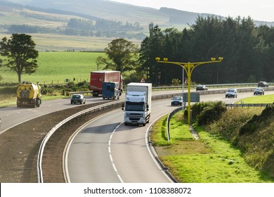 GLENEAGLES, SCOTLAND - OCTOBER 03, 2016: Average speed cameras in operation on the A9 trunk road in Scotland.