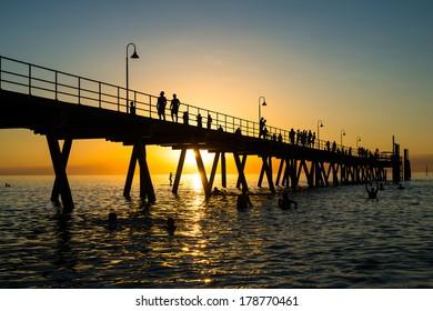 Glenelg Beach Sunset At Adelaide