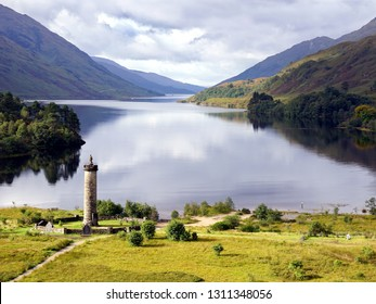 Glenfinnan Monument and Loch Shiel. Highlands, Scotland. Glenfinnan Monument is a striking tribute to those who fought in the Jacobite Risings