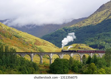 Glenfinnan Viaduct and the Jacobite steam train, Scotitsh Highlands