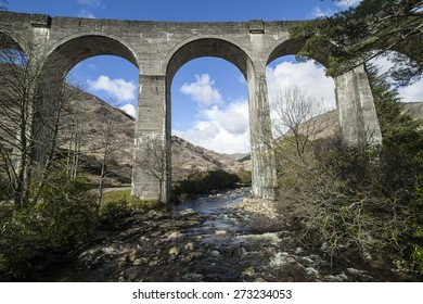 Glenfinnan Viaduct.  Railway viaduct on the West Highland Line in Glenfinnan, Lochaber, Highland, Scotland.