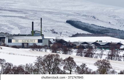 GLENLIVET, MORAY, SCOTLAND - 30 JANUARY: This is Glenlivet Distillery following a falling of snow on 30 January 2016