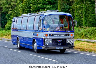 Glenluce, Dumfries and Galloway/Scotland-July 8th 2018: 1976 AEC Reliance Coach in the silver and blue colours  of the old Clyde Coast Services of Saltcoats.
