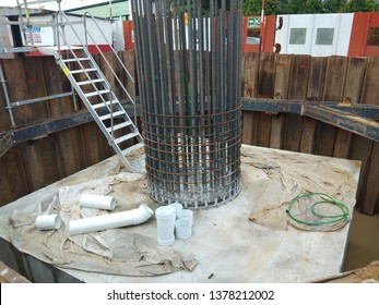 Glenmarie, Malaysia. April 22 2019. Reinforcement bars of column for one of biggest project in Malaysia. Photo shows the column stater bar and pipe accessories on the pilecap.