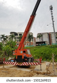 Glenmarie, Malaysia. August 17 2019. Mobile crane lift the heavy load at site. There are several capacity of mobile crane such 25 ton, 45 ton and 120 ton of crane.