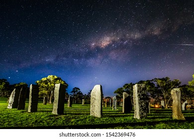 Glenn Innes Australian Standing Stones with Milky Way outside Grafton new South Wales australia