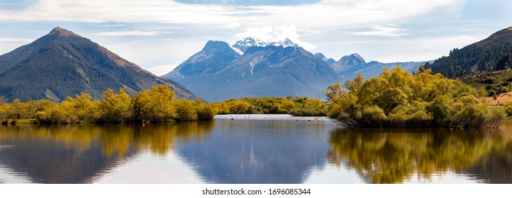 Glenorchy Lagoon, Panorama view. South Islan of New Zealand