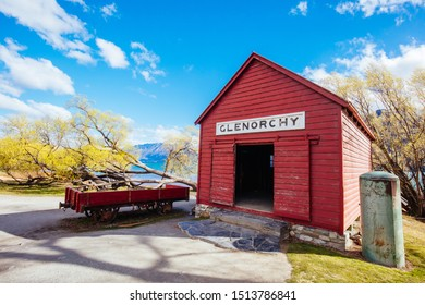 Glenorchy, New Zealand - September 23 2019: The iconic Glenorchy boatshed and pier in Otago district of New Zealand