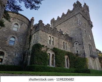 Glenveagh castle, Donegal, Ireland, Exterior wall low angle.