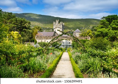 Glenveagh Castle, Donegal in Northern Ireland. Beautiful park and garden in Glenveagh National Park, second largest park of the country. Gleann Bheatha in Irish language