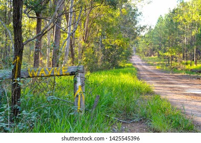 GLENWOOD, AUSTRALIA : Personalised name Wayne painted as a sign on a rural fence in forestry plantation by a country road or lane shows the way for a special guest heading into the wilderness.