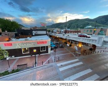 Glenwood Springs, Colorado - May 20, 2021: Glenwood Springs downtown view from the I70 crossing bridge in Glenwood Springs, Colorado