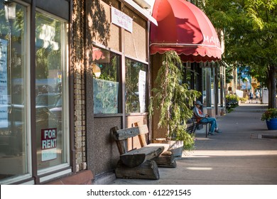 Glenwood Springs, USA - September 7, 2015: Downtown city for rent sign and sidewalk in Colorado