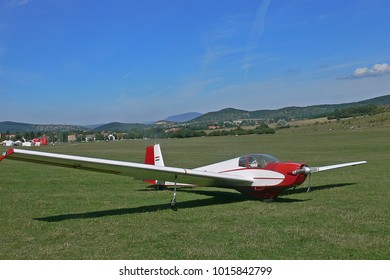 Glider or sailplane just landed in a small airport in Budapest, Hungary