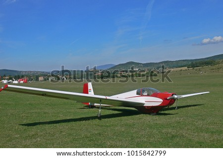 glider sailplane just landed small airport stock photo edit now