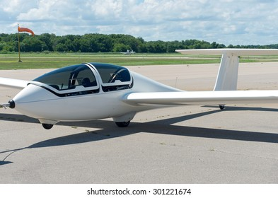 glider or sailplane on runway at municipal airport in faribault minnesota