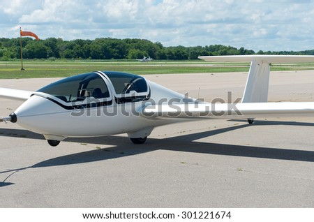glider sailplane on runway municipal airport stock photo edit now