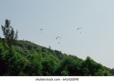 the gliders fly over tropical hill