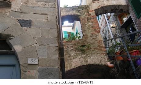 a glimpse of an alley of the seaside village of Corniglia,  Cinque terre, Liguria, Italy.