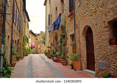 glimpse of the beautiful medieval village of Casole d'Elsa in the province of Siena in Tuscany, Italy