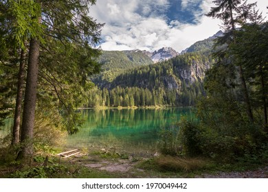 glimpses and details on Tovel Lake in Trentino Alto Adige in Italy