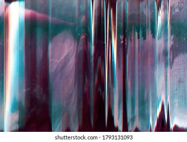 Glitch abstract background. Digital distortion. Purple blue noise on dirty screen with dust scratches.