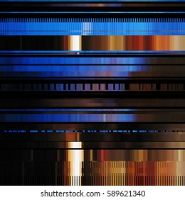 Glitch abstract background with distortion effect, bug, error, random horizontal orange and blue color lines for design concepts, posters, wallpapers, presentations and prints. Illustration.