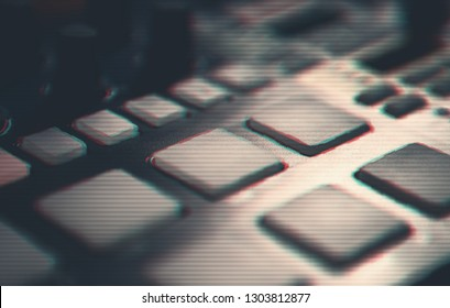 Glitch background with professional beat machine for making music