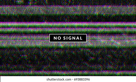 Glitch background with tv noise texture and no signal label