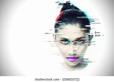 Glitch effect with Asian girl on white background