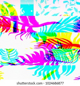 Glitch palms. Abstract chemical glitching effect. Random digital signal error. Abstract contemporary texture background colorful pixel mosaic. Element of design for a trendy poster, music cover.