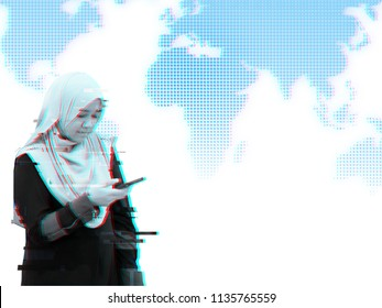 Glitch portrait concept, a girl holding phone with glitch effect over the haltone world maps
