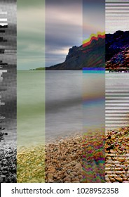 Glitched illustration. Random colorful digital signal errors in front of sea and mountain landscape. Trendy computer graphic for poster, postcard, application or music album.