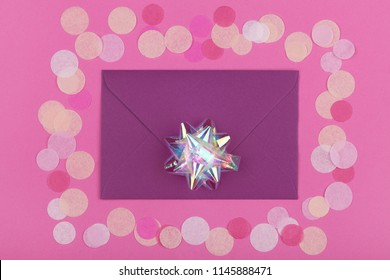 Glitter and card for inserting text on a colored background top view. Minimalism, design, insta, holiday. flatlay