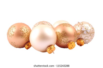 Glitter christmas balls isolated on white background