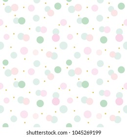 Glitter confetti polka dot seamless pattern background. Pink and pastel blue trendy colors. For birthday, valentine and scrapbook design. Raster copy