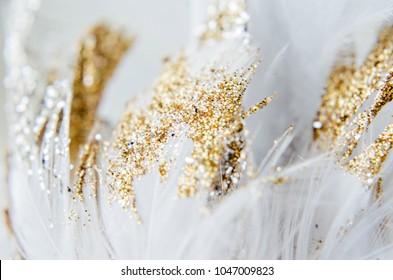 glitter feathers close up