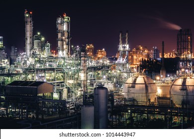 Glitter lighting of petrochemical plant with night, Manufacturing of petroleum industrial